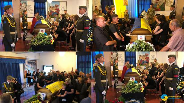 В Бродах на Львовщине попрощались с погибшими в катастрофе вертолета Ми-8 на Ровненщине