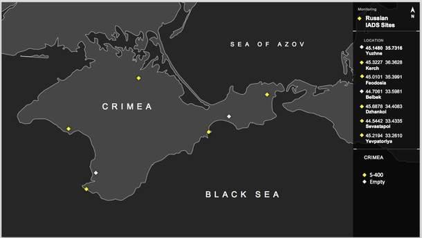 С-400 – российские зенитно-ракетные системы крупного и среднего радиуса действия – расположены в Крыму