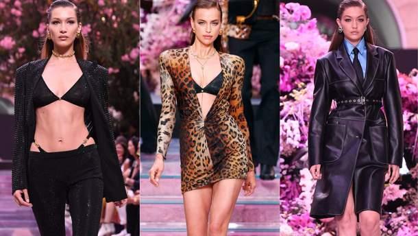 Ирина Шейк и сестры Хадид на показе Versace