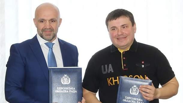 Глава Херсонского облсовета Владислав Мангер и бывший замглавы Минобороны Юрий Гусев