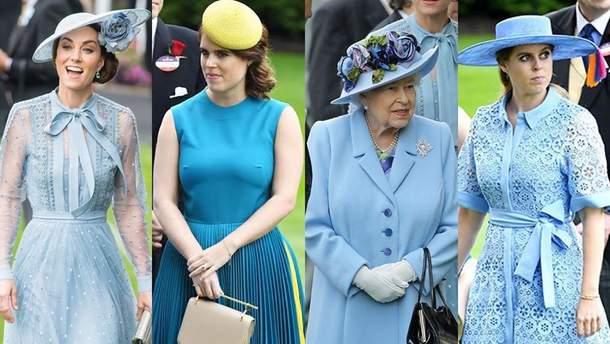 Елизавета II, принцессы Беатрис и Евгения и Кейт Миддлтон