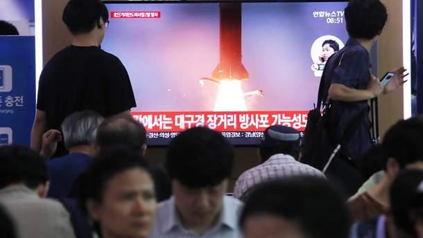 Пуск ракет показали по национальному телевидению Южной Кореи