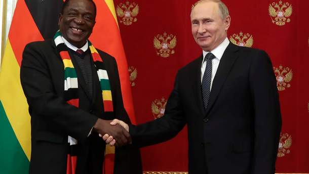 Президент Зимбабве Эммерсон Мнангагва и президент России Владимир Путин