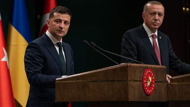 Зеленский и Эрдоган на брифинге в Турции