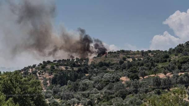 Пожар на острове Эвбея близ Афин