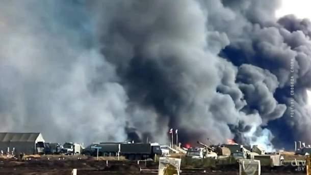 Момент вибуху на військовому полігоні
