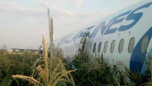 Авария самолета А321 в кукурузном поле – видео причины аварии самолета
