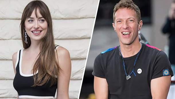 Дакота Джонсон з лідером Coldplay Крісом Мартіном
