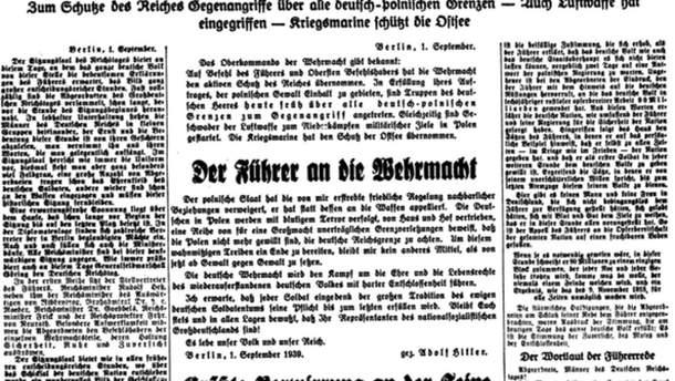 """Обложка немецкой газеты 1939 года """"Польша втягивает нас в войну"""""""
