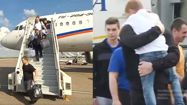 Зустріч звільнених полонених у Росії та в Україні