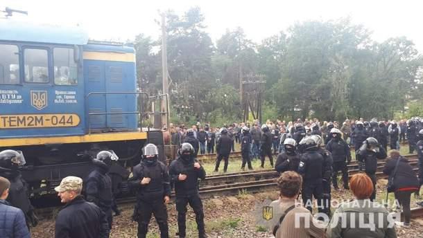 Силовое задержание блокировщиков российского угля на Львовщине