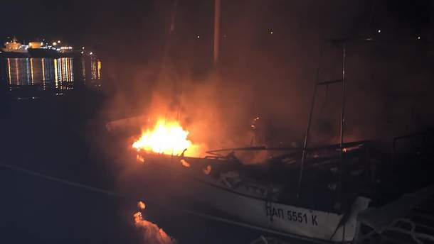 На Одещині горіла яхта місцевого депутата