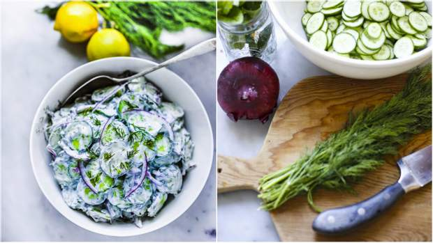 Салат з огірками та м'ятою