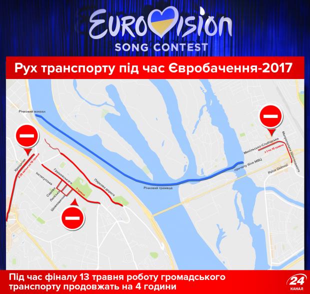 Рух транспорту під час Євробачення у Києві