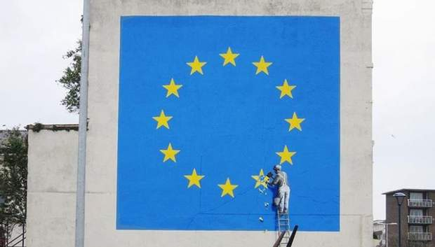 Новий мурал Бенксі з прапором ЄС