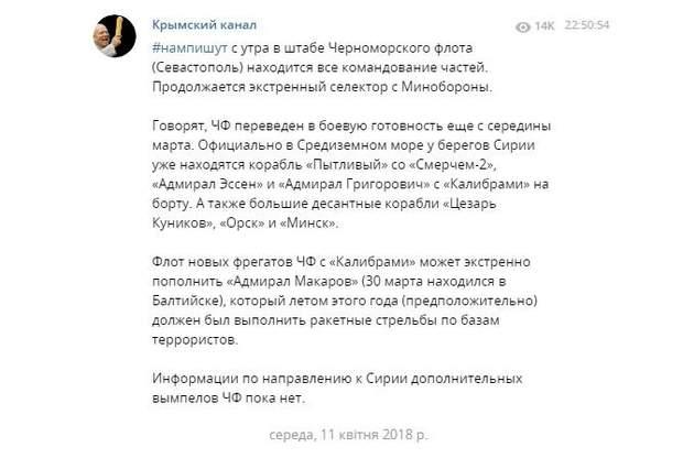 ЧФ Росії в Криму приведений у бойову готовність
