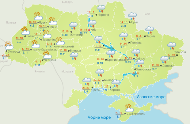 прогноз погоди погода в Україні