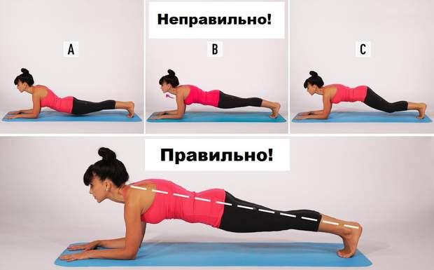 Під час планки голова і спина повинні утворювати одну лінію