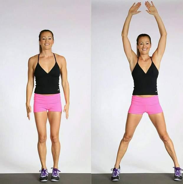 Під час кожного стрибка ноги ставити на ширині плечей, руки піднімати в сторони до рівня плечей або робити хлопок над головою