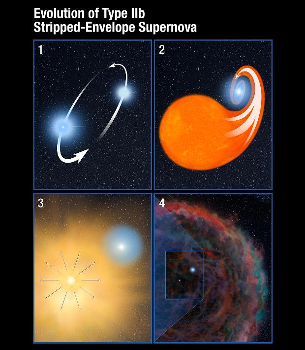 Схематичне зображення взаємодії двох світил до вибуху наднової