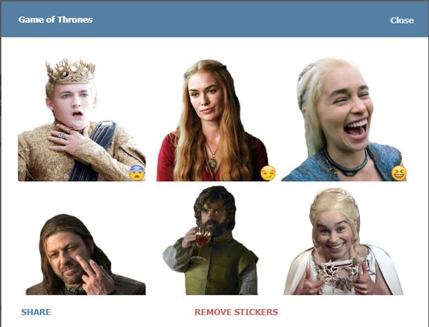 Скріншот стікерпаку Game of Thrones