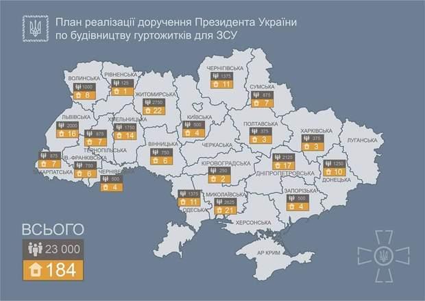 У 21 області України побудують казарми для контрактників