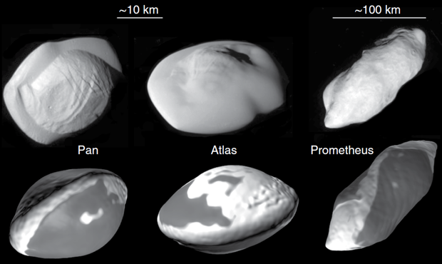 Знімки супутників Сатурна Атласу, Пана і Прометея, зроблені апаратом
