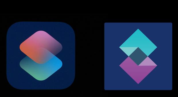 Порівняння логотипів Apple Shortcuts та Shift