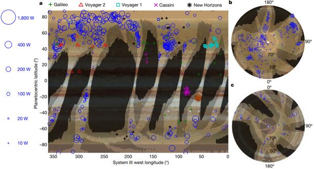 Розподіл спалахів блискавок на Юпітері, які зареєструвала