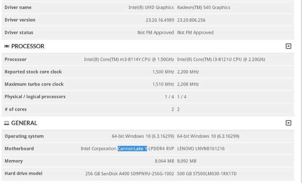 Характеристики нового 10-нм процесора Intel Core m3-8114Y
