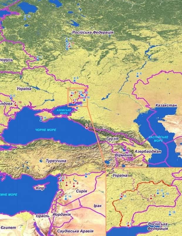 Місця дислокації російських терміналів мобільних комплексів захищеного відео-конференц-зв'язку