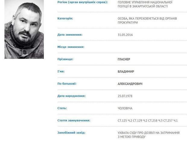 "Гласнер ""Правий сектор"" розшук Словаччина"