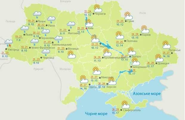 Прогноз погоди в Україні на 25 червня від Укргідрометцентру