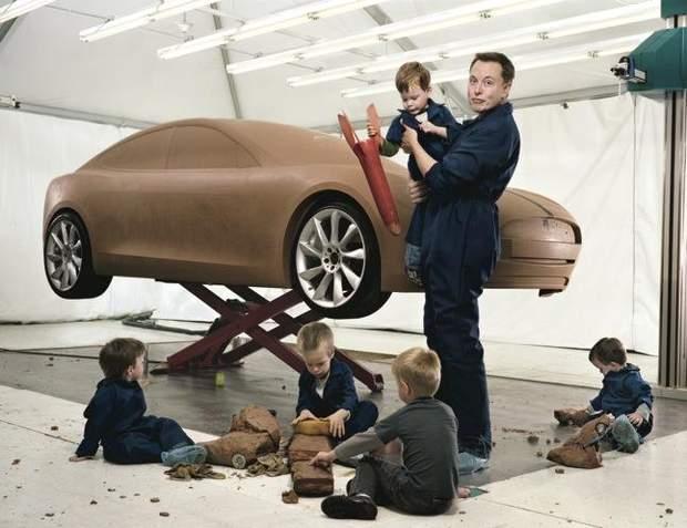 Ілон Маск із своїми синами: Каєм, Ксав'єром, Саксоном, Гріффіном та Даміаном