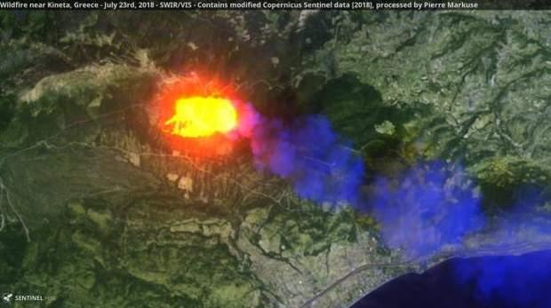 Пожежа в Греції з Космосу