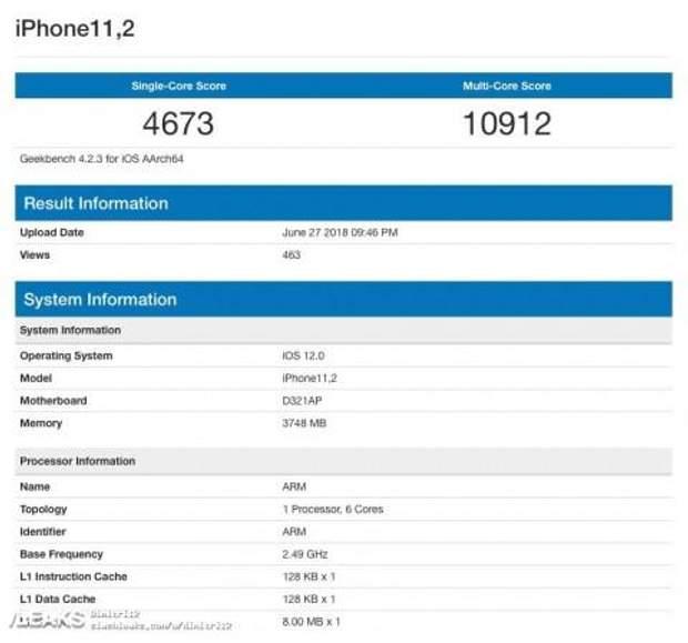 iPhone 11,2 показав високі результати у бенчмарку Geekbench
