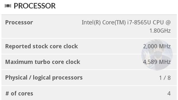 Характеристики  процесора Intel Core i7-8565U