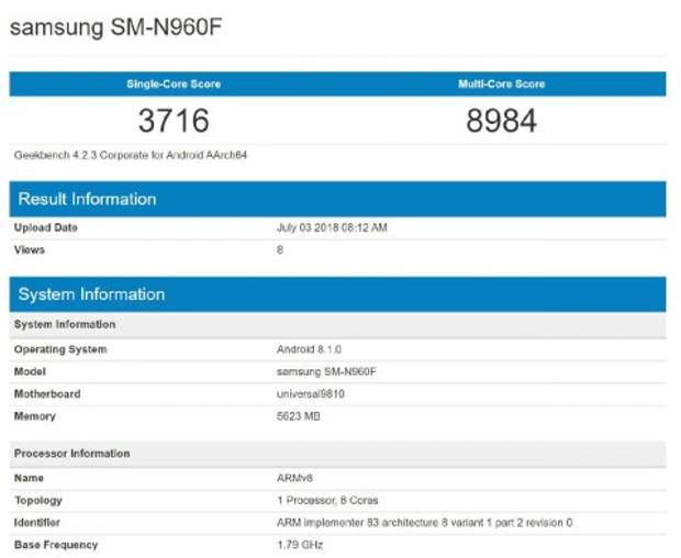 Результати тестування Samsung Galaxy Note9 на базі процесора Exynos 9810