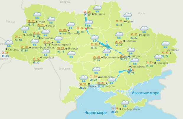 Погода, спека, дощі, негода, 11 липня. Україна, Укргідрометцентр