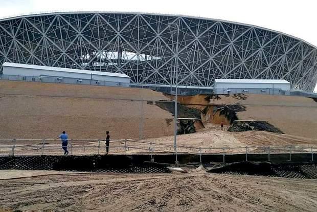 Стадіон у Волгограді після дощу