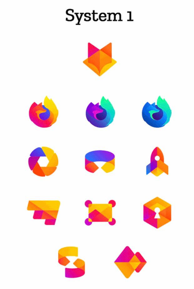 Перший приклад зміни дизайну іконок Mozilla