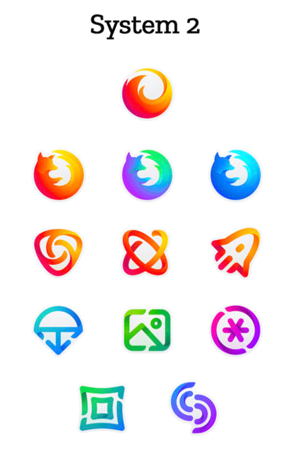 Другий приклад зміни дизайну іконок Mozilla
