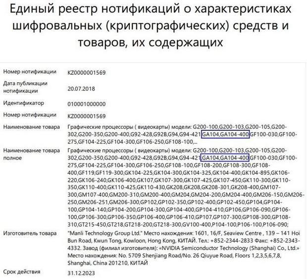 Сертифікація нових графічних процесорів NVIDIA