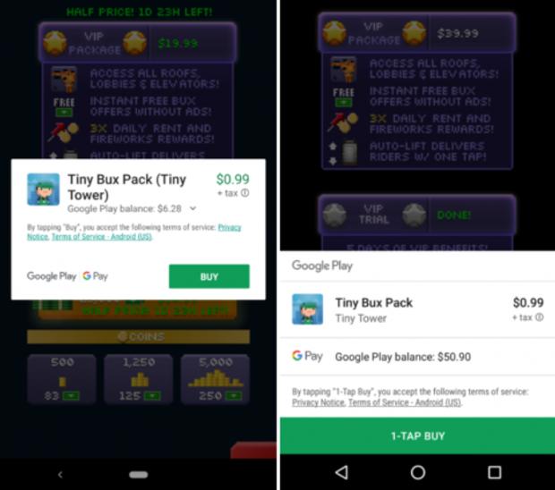 Старий спосіб оплати в Google Play (зліва) та новий (справа)
