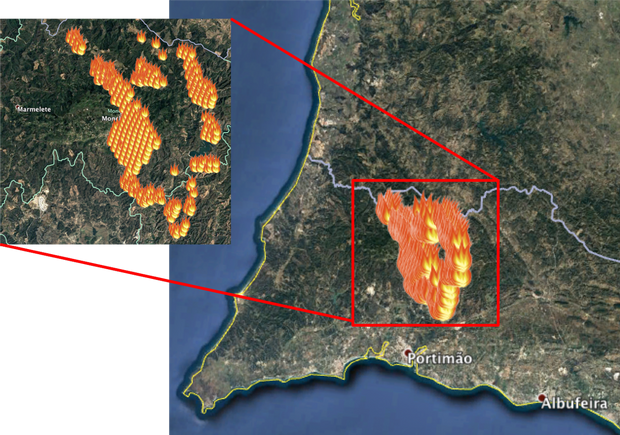 Фото з космосу щодо ситуації з лісовими пожежами в Португалії