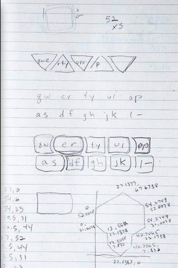 Проект клавіатури, яку запропонував Косієнда для iPhone