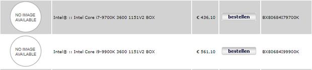 Ціна на процесори Intel 9000 серії