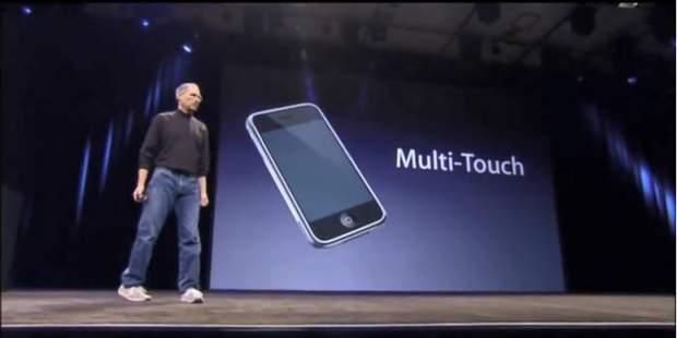 Стів Джобс на презентації технології Multi-Touch
