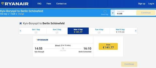 Ryanair Київ Берлін розклад ціни