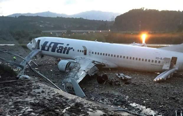 Наслідки загоряння літака в Сочі